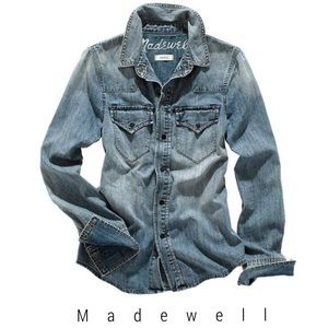 Madewell chambray jean shirt desert willow wash